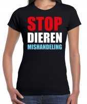 Stop dieren mishandeling protest betoging shirt zwart voor dames kopen