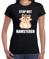 Stop met hamsteren t-shirt zwart voor dames kopen