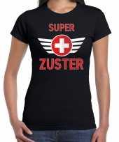 Super zuster cadeau shirt zwart voor dames kopen