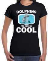 T shirt dolphins are serious cool zwart dames dolfijnen dolfijn shirt kopen