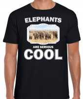 T shirt elephants are serious cool zwart heren kudde olifanten olifant-shirt kopen