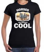 T shirt horses are serious cool zwart dames paarden wit paard shirt kopen