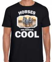 T shirt horses are serious cool zwart heren paarden wit paard shirt kopen