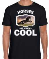 T shirt horses are serious cool zwart heren paarden zwart paard shirt kopen