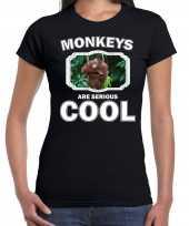 T shirt monkeys are serious cool zwart dames apen orang oetan shirt kopen