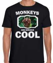 T shirt monkeys are serious cool zwart heren apen orangoetan shirt kopen