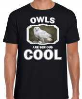T shirt owls are serious cool zwart heren uilen sneeuwuil shirt kopen