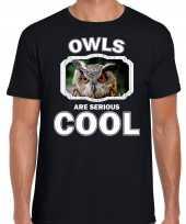 T shirt owls are serious cool zwart heren uilen uil shirt kopen