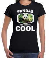 T shirt pandas are serious cool zwart dames pandaberen panda shirt kopen