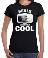 T shirt seals are serious cool zwart dames zeehonden grijze zeehond shirt kopen