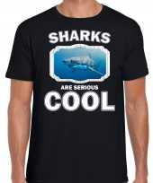 T shirt sharks are serious cool zwart heren haaien haai shirt kopen