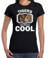 T shirt tigers are serious cool zwart dames tijgers tijger shirt kopen