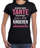Tante is trots op kinderen fun kado shirt zwart voor dames kopen
