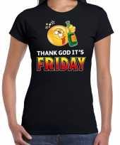 Thank god its friday emoticon fun shirt dames zwart kopen