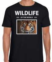 Tijger foto t-shirt zwart voor heren wildlife of the world cadeau shirt tijgers liefhebber kopen