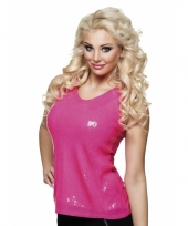 Toppers top shirt met roze pailletten glitters dames kopen