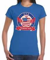 Usa drinking team t-shirt blauw dames kopen