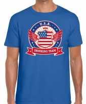 Usa drinking team t-shirt blauw heren kopen