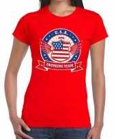Usa drinking team t-shirt rood dames kopen
