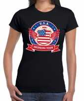 Usa drinking team t-shirt zwart dames kopen