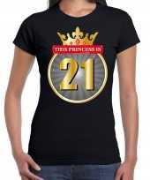 Verjaardagscadeau shirt this princess is 21 year zwart voor dames kopen