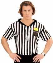 Voetbal scheidsrechter heren kostuum shirt met opdruk kopen