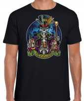 Voodoo skelet horror shirt zwart voor heren kopen