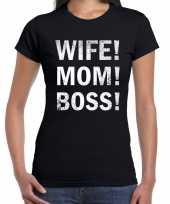 Vrouw moeder baas moederdag t-shirt zwart voor dames kopen