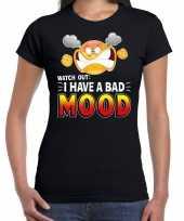 Watch out i have a bad mood emoticon fun shirt dames zwart kopen