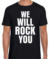 We will rock you zwart rockmuziek tekst-shirt voor heren kopen