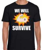 We will survive t-shirt coronacrisis zwart voor heren kopen