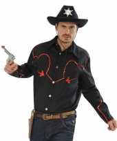 Western overhemd met rode glitters kopen