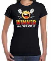 Winner you cant beat me fun shirt dames zwart kopen
