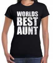 Worlds best aunt tante kado t-shirt zwart voor dames cadeau shirt verjaardag kopen