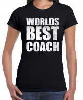 Worlds best coach werelds beste coach cadeau shirt zwart voor dames kopen