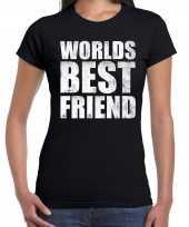 Worlds best friend kado t-shirt zwart voor dames cadeau shirt verjaardag kopen