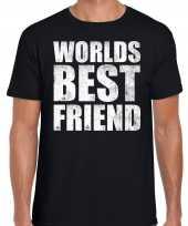Worlds best friend kado t-shirt zwart voor heren cadeau shirt verjaardag kopen