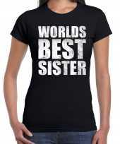 Worlds best sister kado t-shirt zwart voor dames cadeau shirt verjaardag kopen