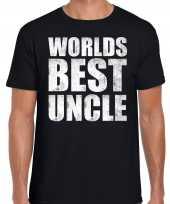 Worlds best uncle oom kado t-shirt zwart voor heren cadeau shirt verjaardag kopen