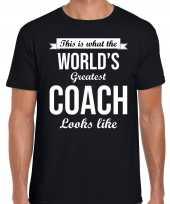 Worlds greatest coach kado shirt als bedankje voor een coach zwart heren kopen