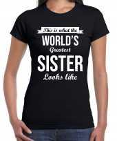 Worlds greatest sister kado shirt voor zusjes zwart dames kopen