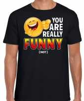 You are really funny not fun emoticon shirt heren zwart kopen