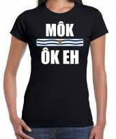 Zeeuws dialect-shirt mok ok eh met zeelandse vlag zwart voor dames kopen
