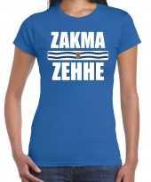 Zeeuws dialect-shirt zakma zehhe met zeelandse vlag blauw voor dames kopen