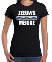 Zeeuws dialect-shirt zeeuws meiske met zeelandse vlag zwart voor dames kopen
