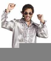 Zilveren rouche overhemd voor heren kopen