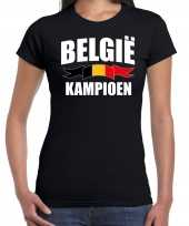 Zwart fan shirt kleding belgie kampioen ek wk voor dames kopen