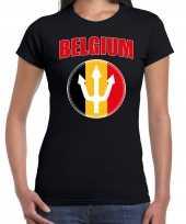 Zwart fan shirt kleding belgium met drietand ek wk voor dames kopen