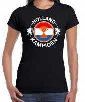 Zwart fan shirt kleding holland holland kampioen met beker ek wk voor dames kopen