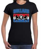 Zwart fan shirt kleding holland met een nederlands wapen ek wk voor dames kopen